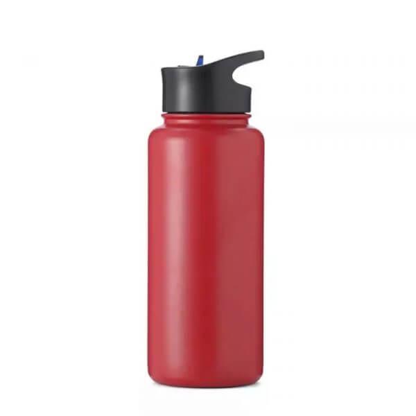 red metal water bottle