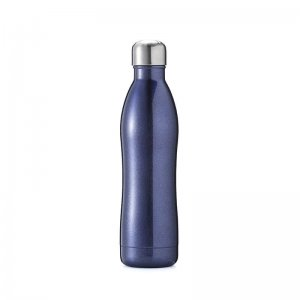 blue metal water bottle