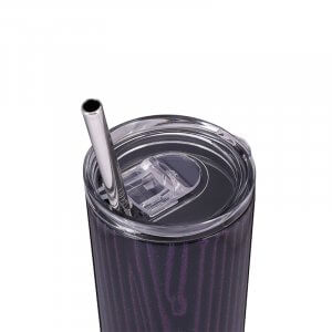 black skinny tumbler with straw